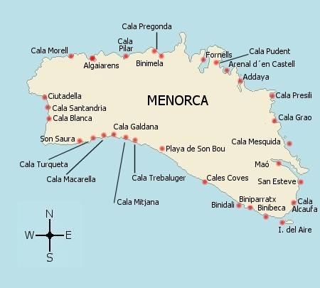 Mapa Calas de Menorca